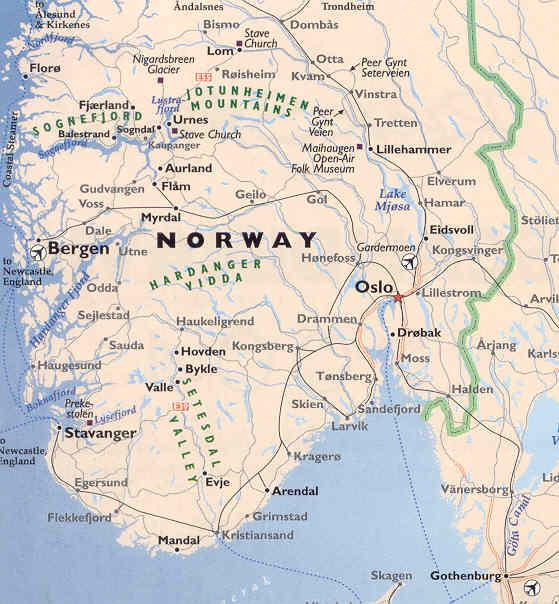 SCANDINAVIA MAPS - Norway map mountains